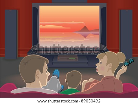 Family watching TV set by home cinema