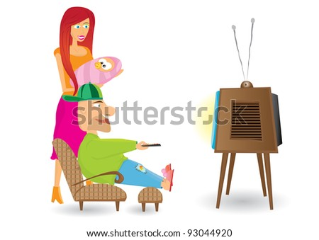 family watching TV. Vector illustration.