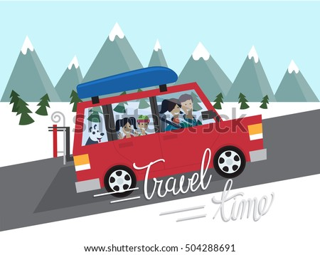 Family winter traveling. Mountain outdoor tourism. Travel by car. Flat design vector illustration