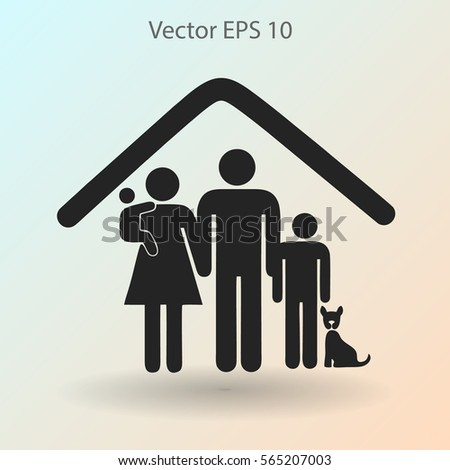 family with a pet vector illustration