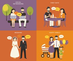 Family with children people concept flat icons set of social networking and flirting using laptops, first dating in the restaurant, wedding and parenting. Family with kids vector illustration