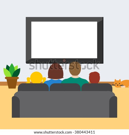 family with children watches tv