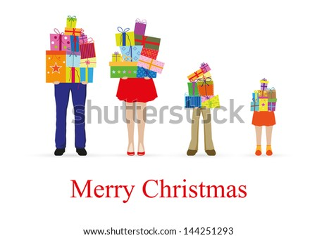 Family with gift boxes