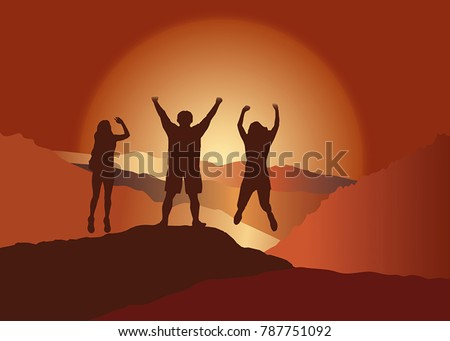 Family with hands up jumping and having fun on the top of mountain. Vector illustration. Blue Ridge Mountains, North Carolina, USA. #787751092