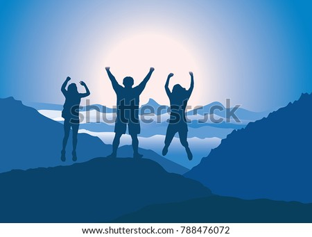 family with hands up jumping