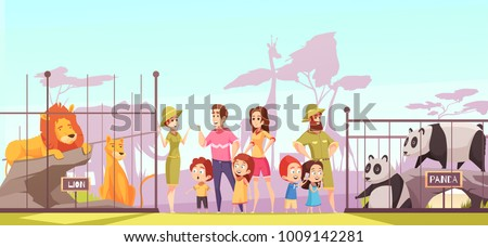 Family with kids at zoo between lions and pandas enclosures talking to animal curators cartoon vector illustration