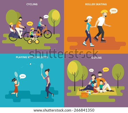 Family with kids concept flat icons set of cycling, roller skating, playing with children and outing. Active leisure and picnic in the park