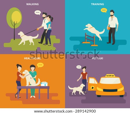 family with pet concept flat