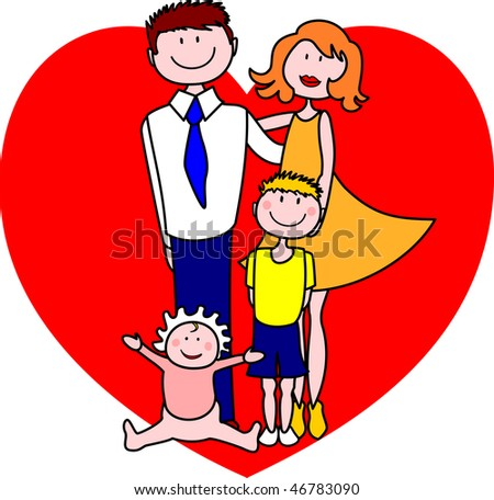 Family with two children and a heart in the background, vector