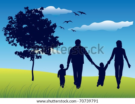 family with two children walking on summer field near tree, blue sky
