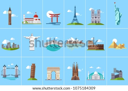 Famous architectural landmarks set, popular travel historical landmarks and buildings of different countries vector Illustrations