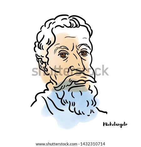 Famous artist Michelangelo vector hand drawn watercolor portrait with ink contours. Italian sculptor, painter, architect and poet of the High Renaissance.