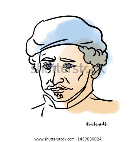 Famous artist Rembrandt vector hand drawn watercolor portrait with ink contours. Dutch draughtsman, painter and printmaker.