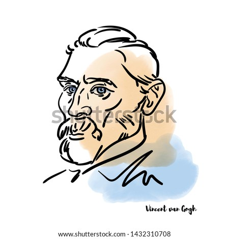 Famous artist Vincent van Gogh vector hand drawn watercolor portrait with ink contours. Dutch post-impressionist painter who is the most famous figure in the history of Western art.