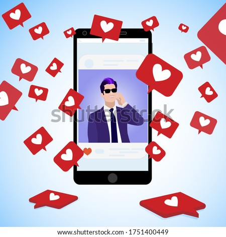 Famous blogger post, collect social icons red hearts, communication online using social media, handsome man page popular catch popularity. Vector illustration