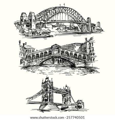 famous bridges   hand drawn set