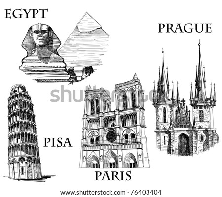 Famous buildings, famous cities sketch (Egypt, Pyramids and The Sphinx; Tower of Pisa; Notre Dame de Paris, St. Tyn Cathedral, Prague)