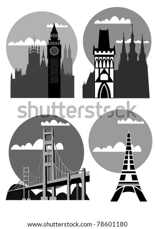 famous cities - London, Paris, San Francisco, Prague - vector ストックフォト ©