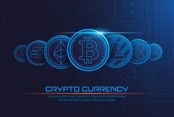 famous cryptocurrency coins artwork with texts , Vector illustrator