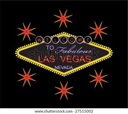 Famous Fabulous Las Vegas Welcome Sign - stock vector