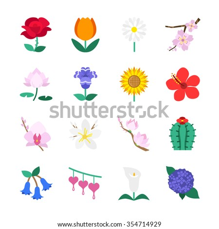 famous flower icons set 1