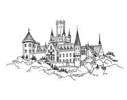 Famous German Castle Landscape. Travel Germany Background. Castle building on the hill skyline etching. Hand drawn sketch vector illustration.