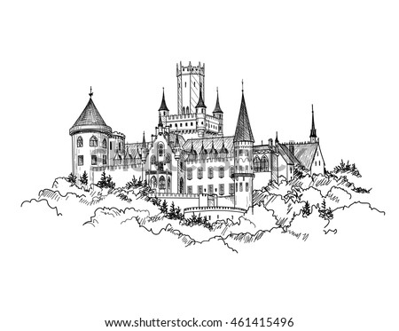 Famous German Castle Landscape. Travel Germany Background. Castle building on the hill skyline etching. Hand drawn sketch vector illustration.