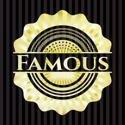 Famous gold emblem or badge. Vector Illustration. Detailed.