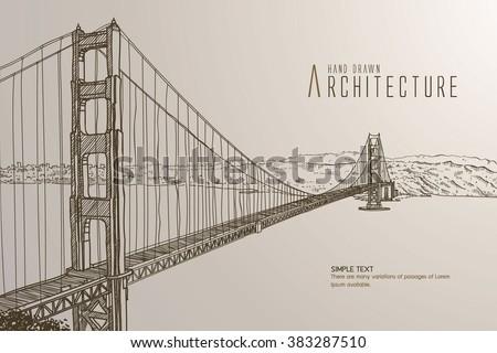 golden gate bridge side view drawing. famous golden gate bridge, san francisco at night, usa bridge side view drawing