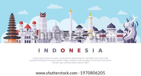 Famous Indonesia Landmarks Flat Vector Illustration