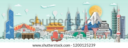 Famous landmark for travel card in Asia ,Japan,Thailand,Hongkong,singapore,malaysia,China in paper art style.