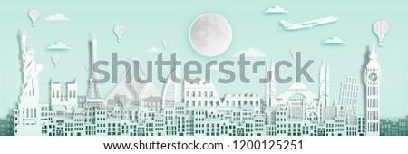 Famous landmark for travel ,England,France,Spain,America,China,Japan,Malasia,singapore,Italy,Hongkong,Turkey,Taiwan,Dubai in paper art style.