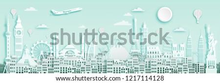 Famous landmark for world travel poster  in paper art style.