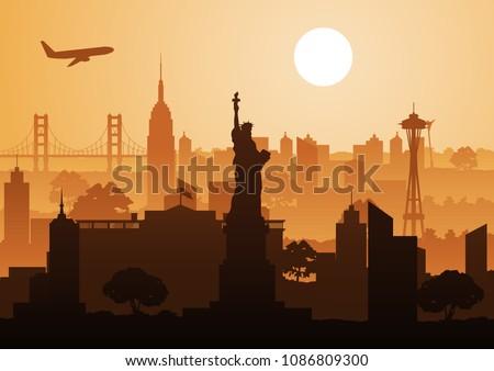 famous landmark of usa,silhouette design,vector illustration