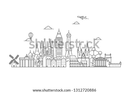 Famous Landmarks in Europe. Travel and tourism background. Vector flat illustration