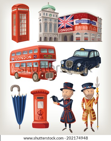 Famous London sights and retro elements of city architecture and lifestyle