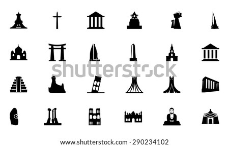 famous monuments vector icons 3