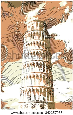 famous pisan tower rendered...