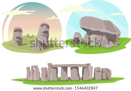 Famous travel locations, Stonehenge, Easter island and Brownshill dolmen Stock photo ©