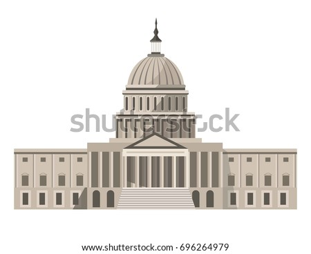 Famous United States Capitol building isolated cartoon illustration