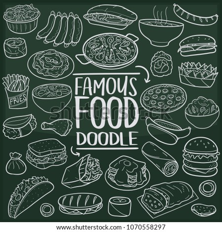 Famous World Food Doodle Line Icon Chalkboard Sketch Hand Made Vector Art