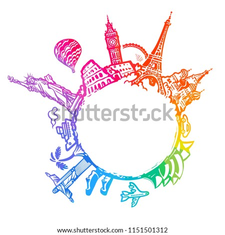 Famous world landmarks located around the globe isolated on white background. Bright colorful design for travel and tourism with copy space. Hand drawn vector illustration in sketch style.