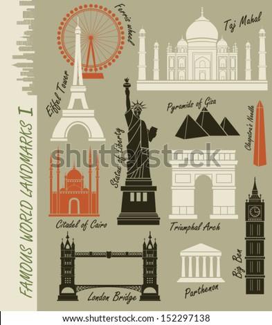 famous world landmarks   set of