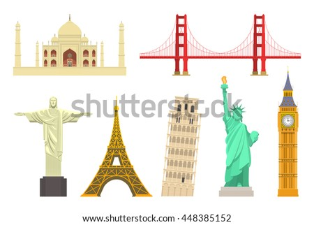 famous world landmarks set