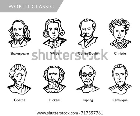 famous world writers  vector