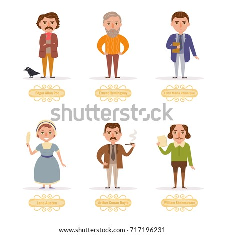 Famous writers. Vector. Cartoon. Isolated art on white background. Flat.