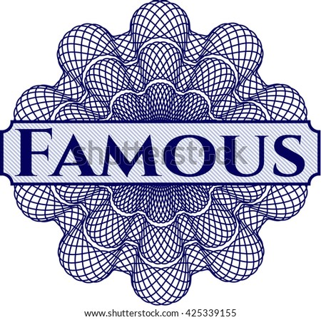 Famous written inside abstract linear rosette