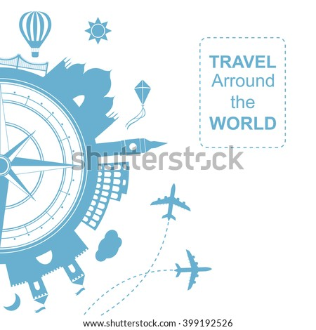 Famouse places. Travel arround the world vector illustration. Travelling by plane, airplane trip in various country.  Flat icon modern design style poster.