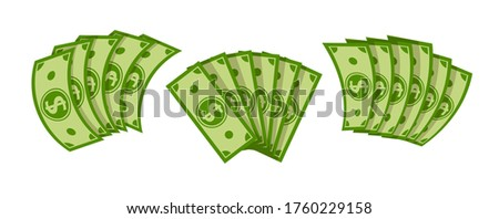 Fan banknote dollar flat cartoon set. Pile of dollars cash, green banknotes, green paper bills. Pay wage money fan. Banking finance investment, jackpot win. Isolated vector illustration