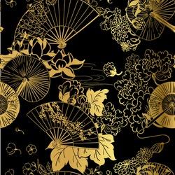 fan flower unbrella vector japanese chinese seamless pattern design gold black